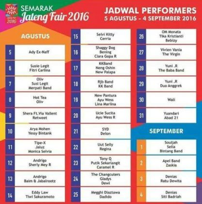 Jadwal Jateng Fair 2016 (Photo: fb/adam muda)