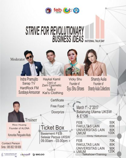 "National Talk Day (Talkshow & Business Training) dengan tema ""Strive for Revolutionary Business Ideas"""